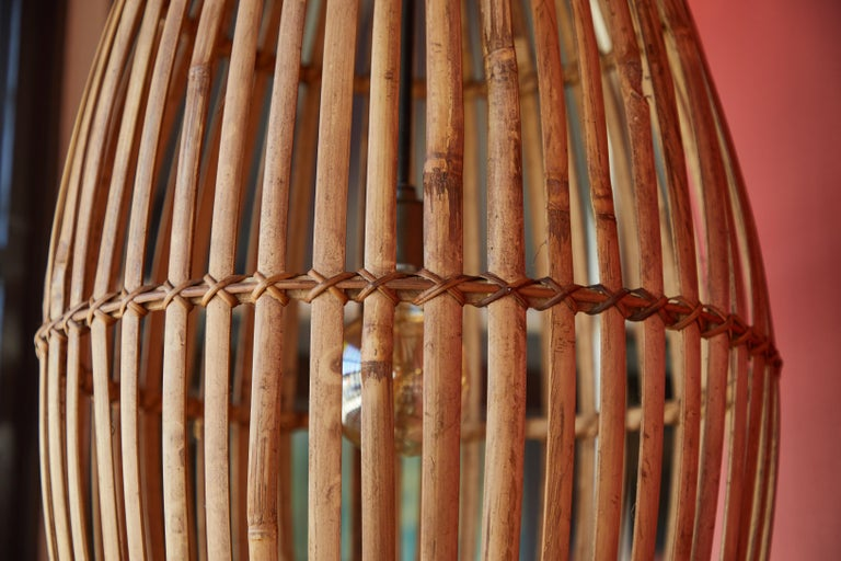 20th Century Rattan Hanging Pendant Lamp For Sale