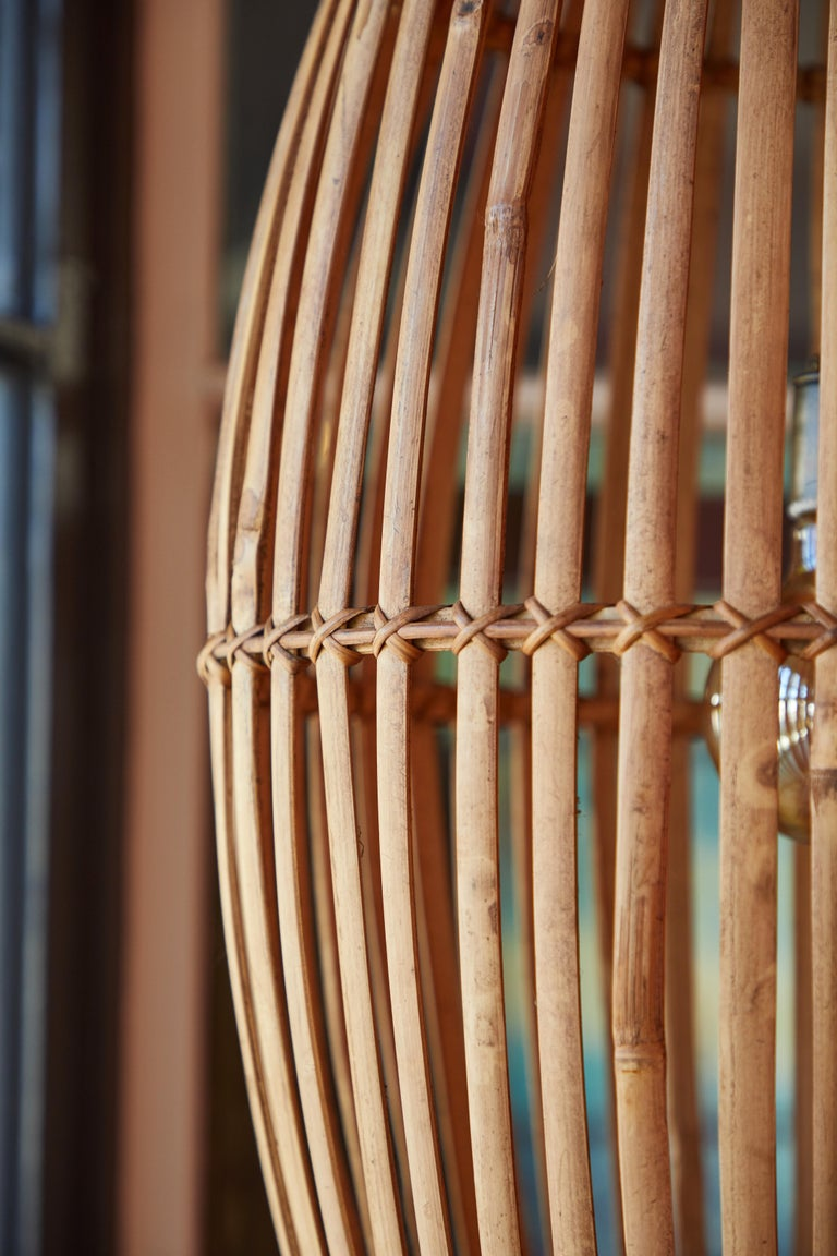 Rattan Hanging Pendant Lamp For Sale 2