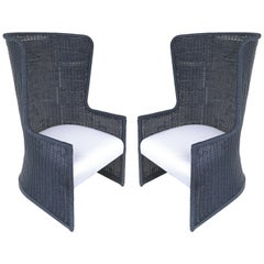 """Rattan High-back """"Wing"""" Chairs with Newly Upholstered Seat Cushions & Pillows"""