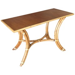 """Rattan """"Hour Glass"""" Sofa or Console Table with Mahogany Top"""