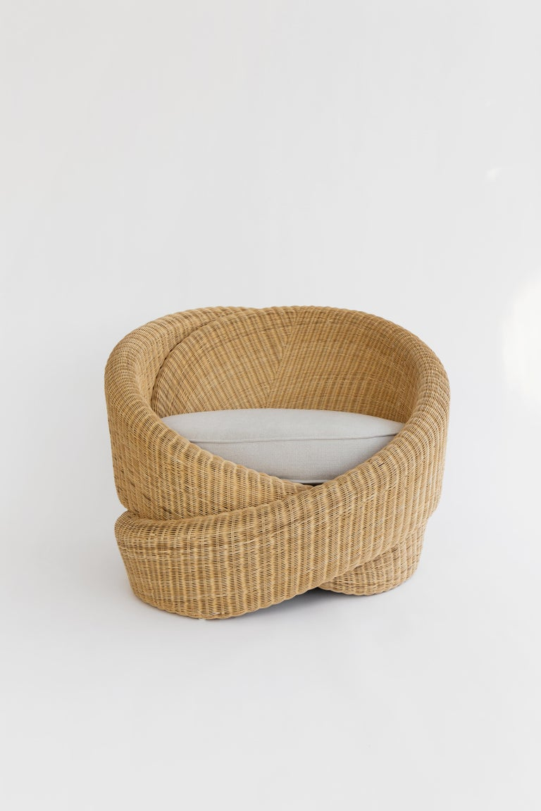 """Knotties are a set of armchairs in polyethylene rattan, comprising of sculptural knot forms. Edwards Anker says: """"The affect of the form imitates the function, which is to embrace the user in their comfort and relaxation."""" The indoor/outdoor set,"""