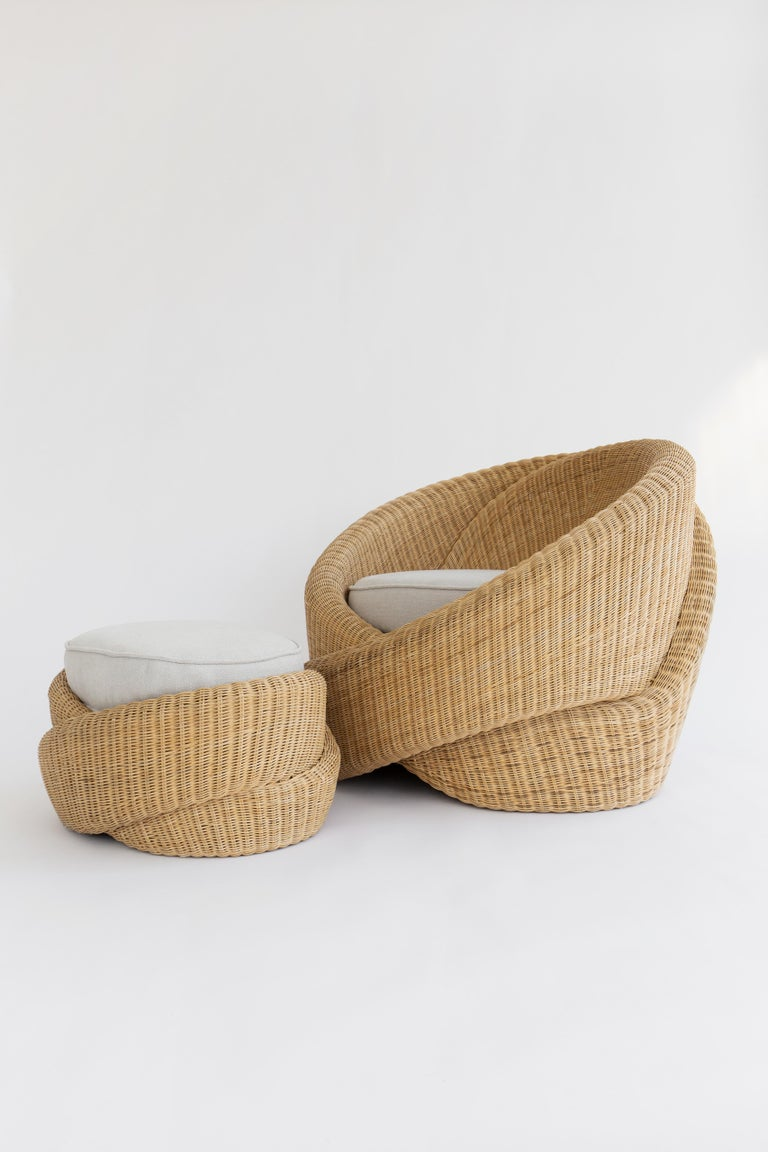 American Rattan Indoor-Outdoor Armchair and Footrest/Ottoman, Cushions in Sunbrella  For Sale