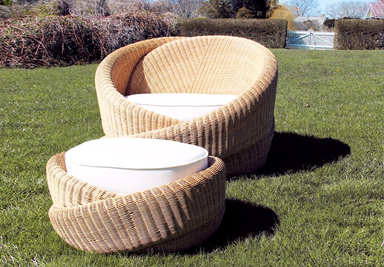 Rattan Indoor-Outdoor Armchair and Footrest/Ottoman, Cushions in Sunbrella  For Sale 1