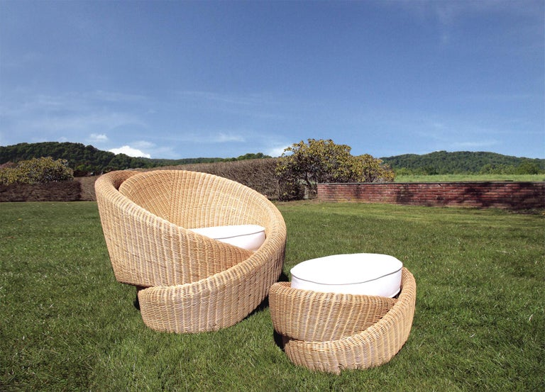 Rattan Indoor-Outdoor Armchair and Footrest/Ottoman, Cushions in Sunbrella  For Sale 2