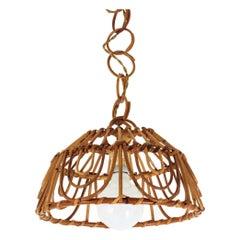 Rattan Italian Modernist Pendant or Lantern, 1960s