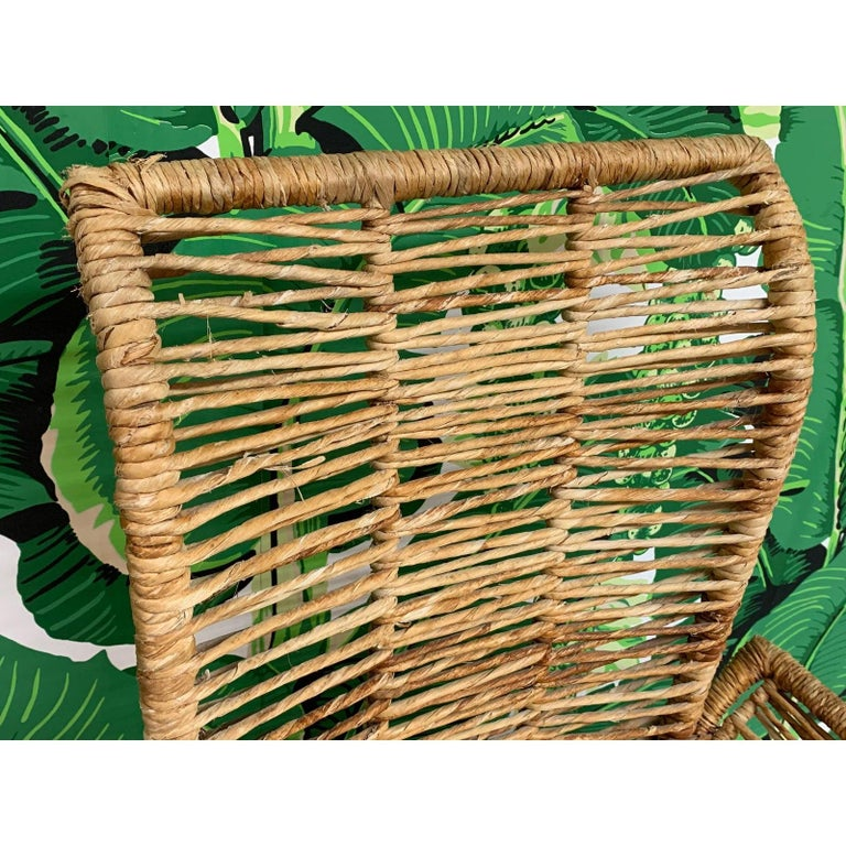 Hollywood Regency Rattan Jute Rope Wrapped 7-Piece Dining Set For Sale
