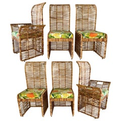 Rattan Jute Rope Wrapped Dining Chairs, Set of 6