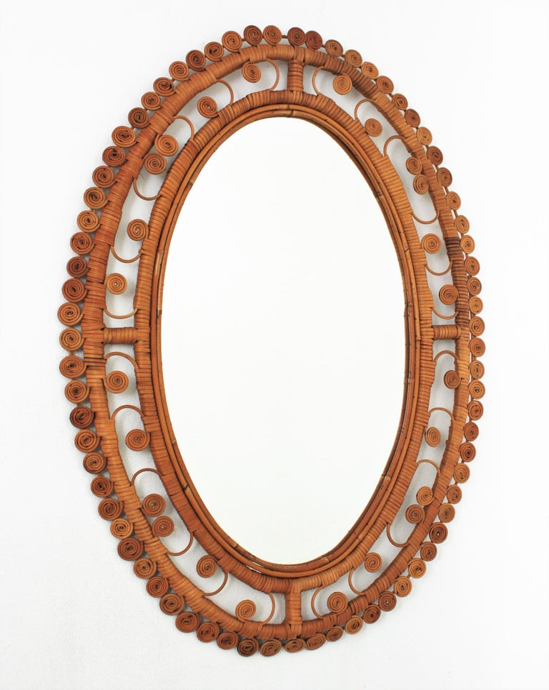 Rattan Large Oval Mirror with Filigree Peacock Frame, Spain, 1960s For Sale 3