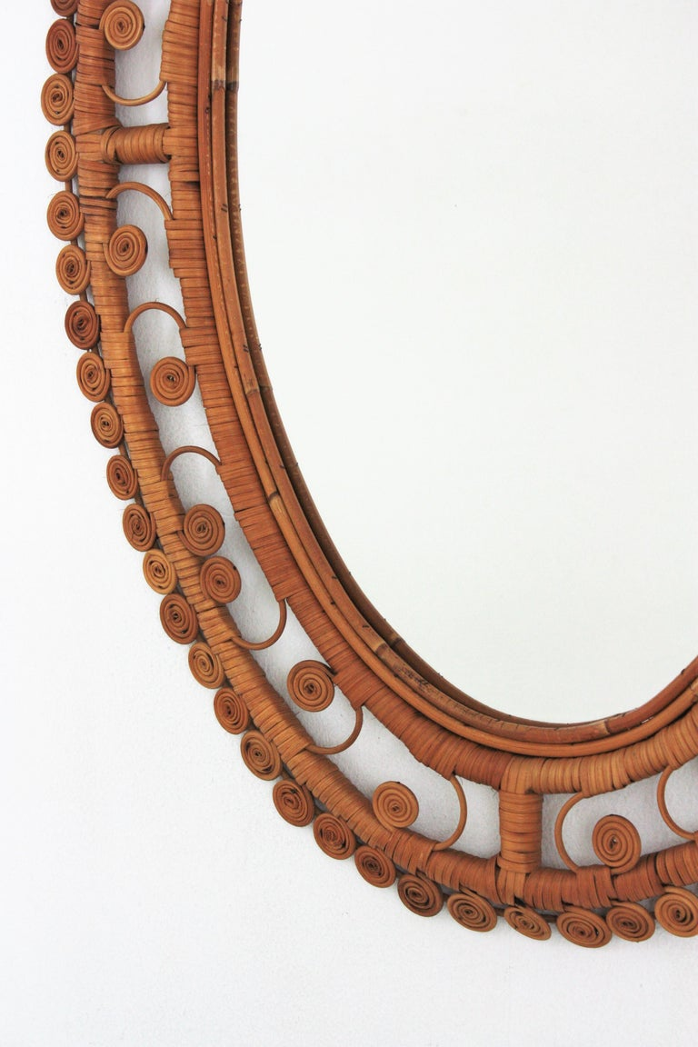 Rattan Large Oval Mirror with Filigree Peacock Frame, Spain, 1960s For Sale 1