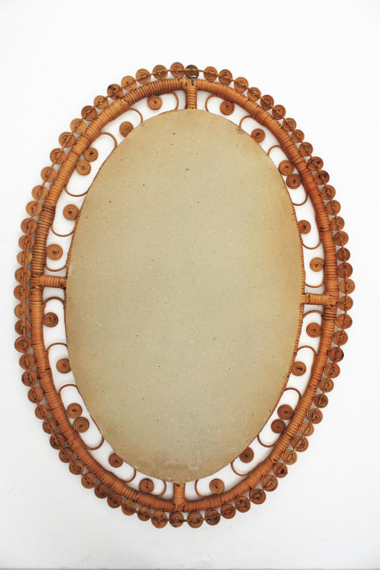 Rattan Large Oval Mirror with Filigree Peacock Frame, Spain, 1960s For Sale 2