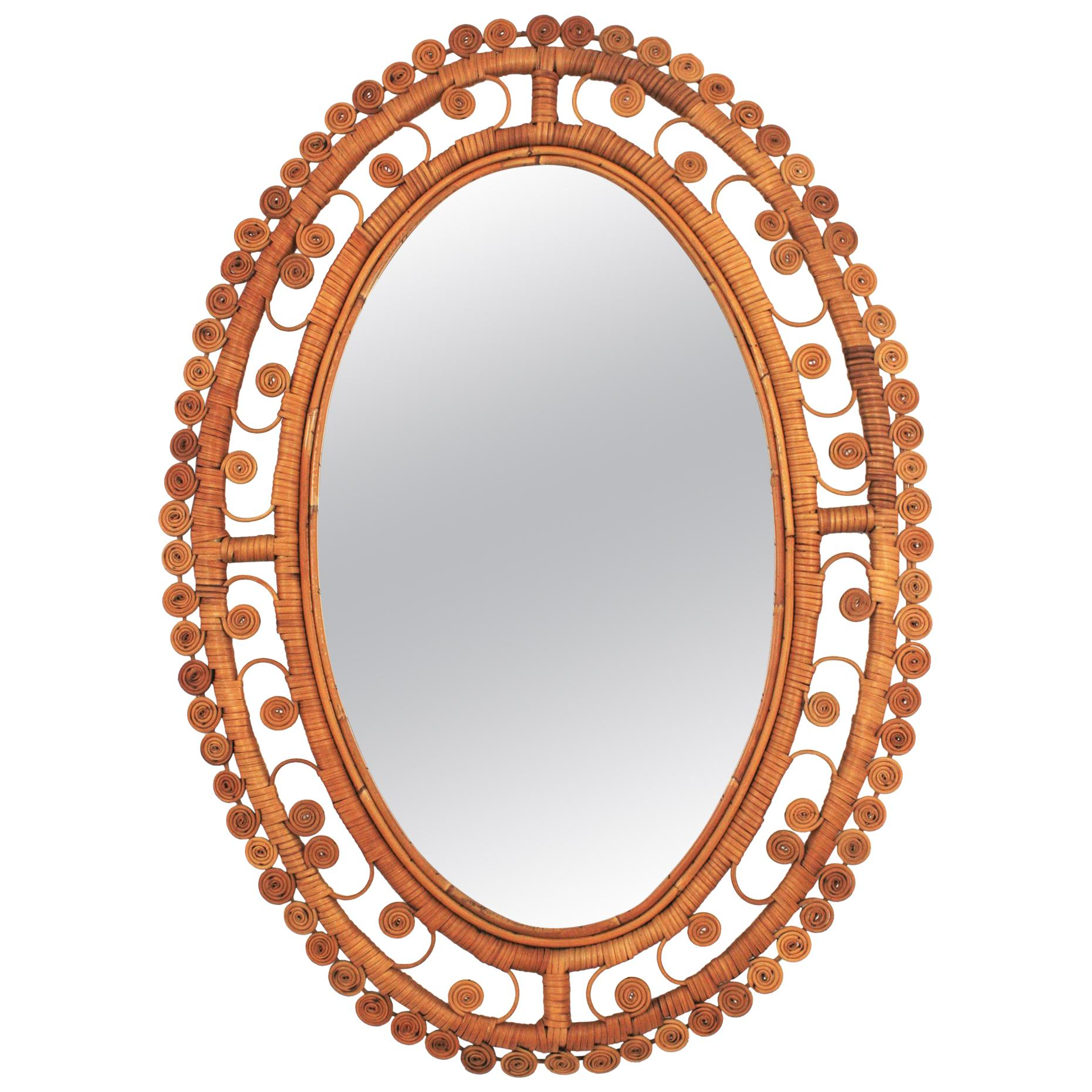 Rattan Large Oval Mirror with Filigree Peacock Frame, Spain, 1960s