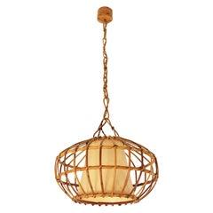 Lage Rattan Pendant Hanging Light, 1960s