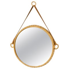 Rattan and Leather Round Wall Mirror