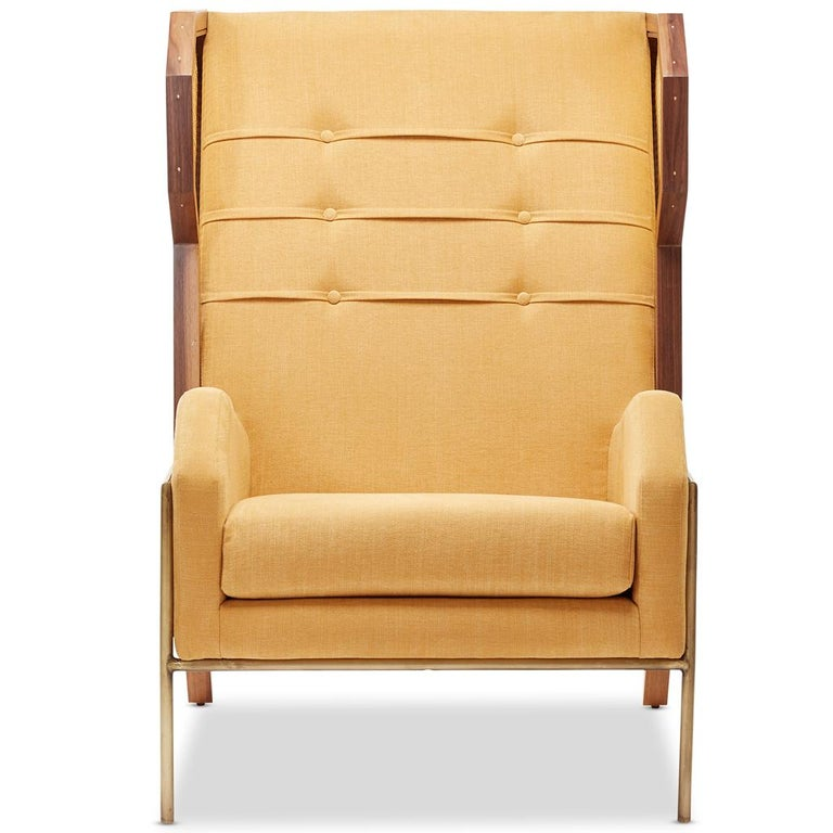 Rattan Linen And Walnut Livingston Wingback Lounge Chair