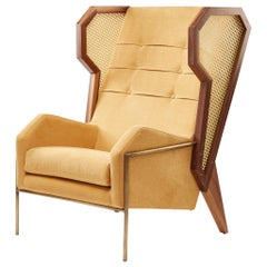 Rattan, Linen and Walnut Livingston Wingback Lounge Chair by Egg Designs