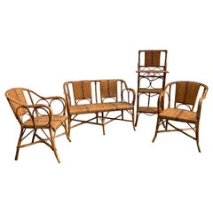 Rattan, Living Room Seating Set, Italy, 1950s