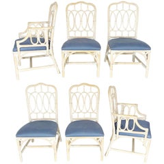 Rattan Loop Back Dining Chairs by Lexington, Set of Six
