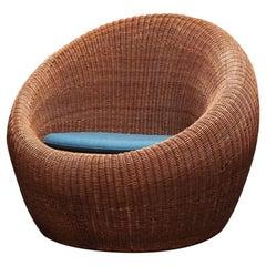 Rattan Lounge Chair by Isamu Kenmochi for Yamakawa Rattan, 1960s