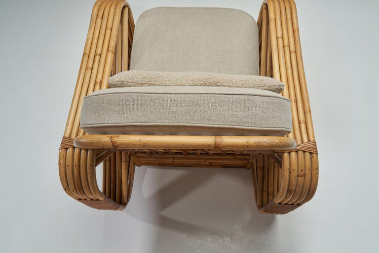 Rattan Lounge Chair in the style of Paul Frankl, United States, 1940s 3