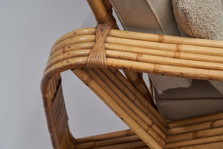 Rattan Lounge Chair in the style of Paul Frankl, United States, 1940s 8