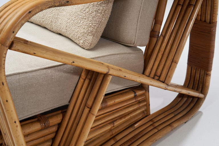 Rattan Lounge Chair in the style of Paul Frankl, United States, 1940s 12