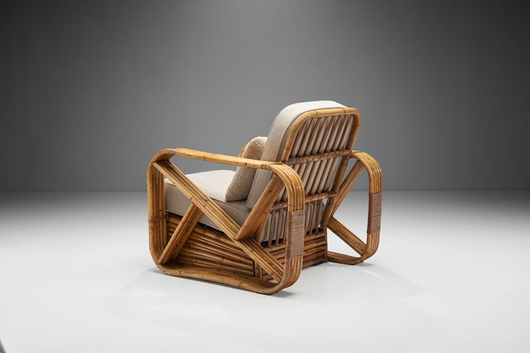 Rattan Lounge Chair in the style of Paul Frankl, United States, 1940s In Good Condition In Utrecht, NL