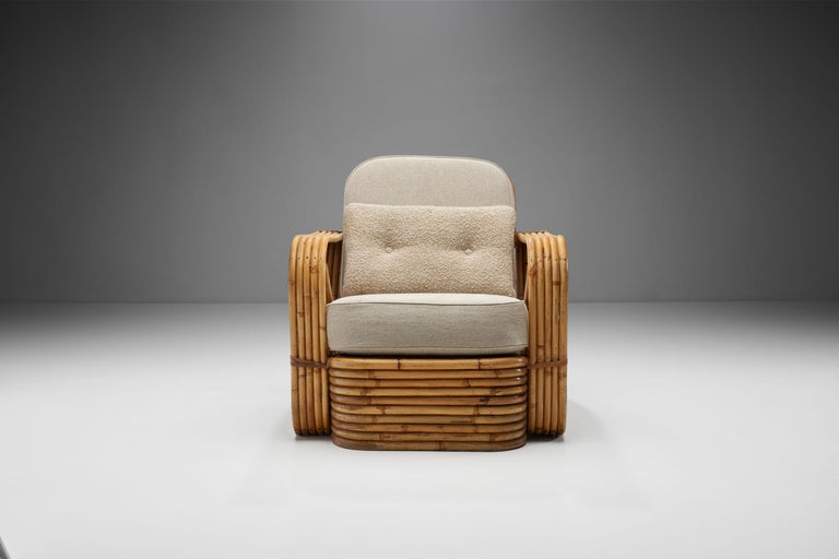 Mid-20th Century Rattan Lounge Chair in the style of Paul Frankl, United States, 1940s