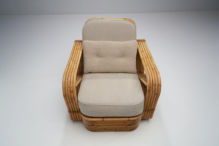 Fabric Rattan Lounge Chair in the style of Paul Frankl, United States, 1940s