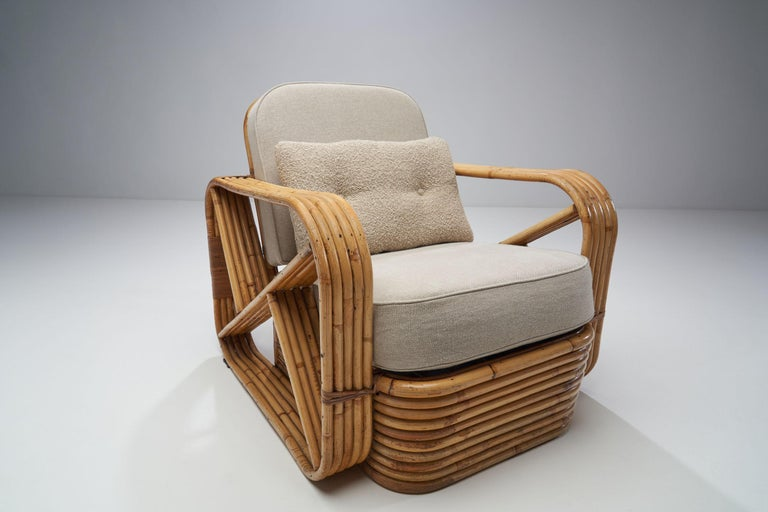 Rattan Lounge Chair in the style of Paul Frankl, United States, 1940s 2