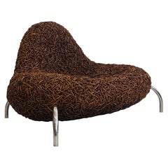 Rattan Lounge Chair with Chromed Metal Feet