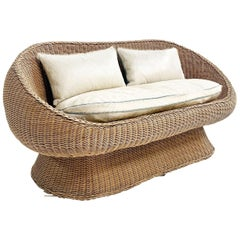 Rattan Loveseat with Custom Brazilian Cowhide and Leather Cushions