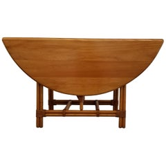 Rattan, Maple and Ash Gateleg Dining Table by Heywood Wakefield