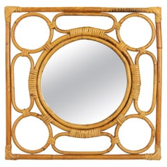 Rattan Mirror Framed with Geometric Details