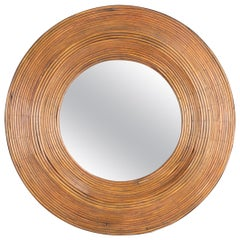 Rattan Mirror in the Manner of Consuelo Crespi