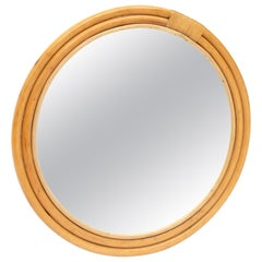 Rattan Mirror in the Style of Paul Frankl, Italy, 1970s