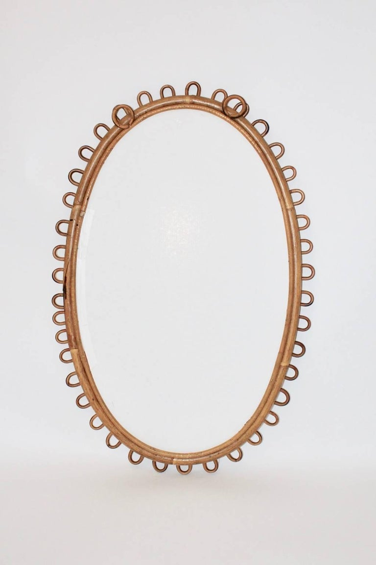 French Rattan Mirror Riviera Style France, 1950s For Sale