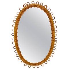 Spiegel aus Rattan im Riviera Stil, Frankreich, 1950er