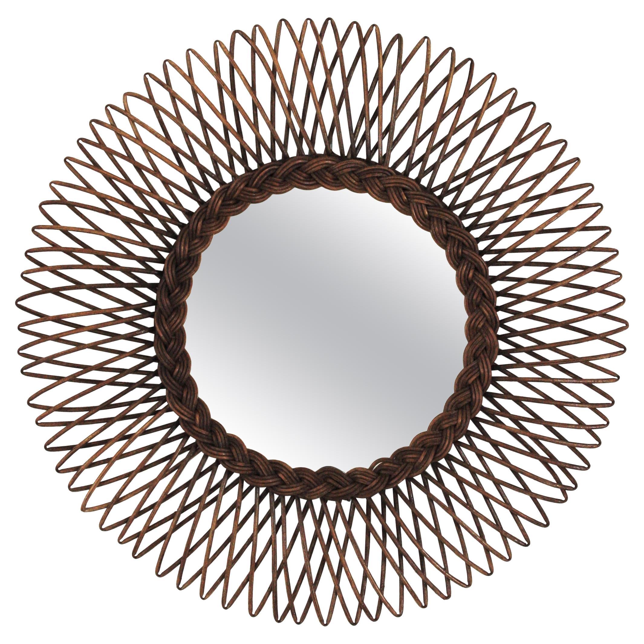 Rattan Mirror / Sunburst Braided Mirror
