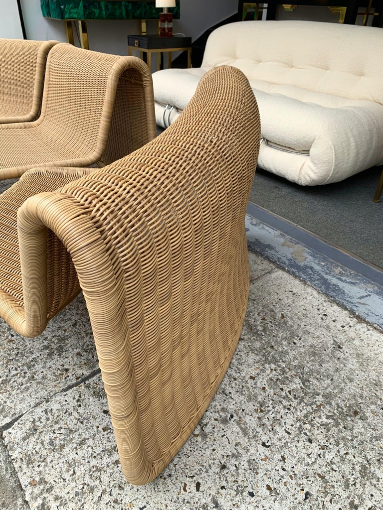 Rattan Modular Sofa Armchairs T3 by Tito Agnoli, Italy, 1970s For Sale 3