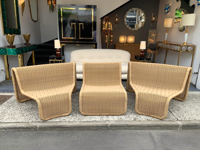 Rattan Modular Sofa Armchairs T3 by Tito Agnoli, Italy, 1970s For Sale 6