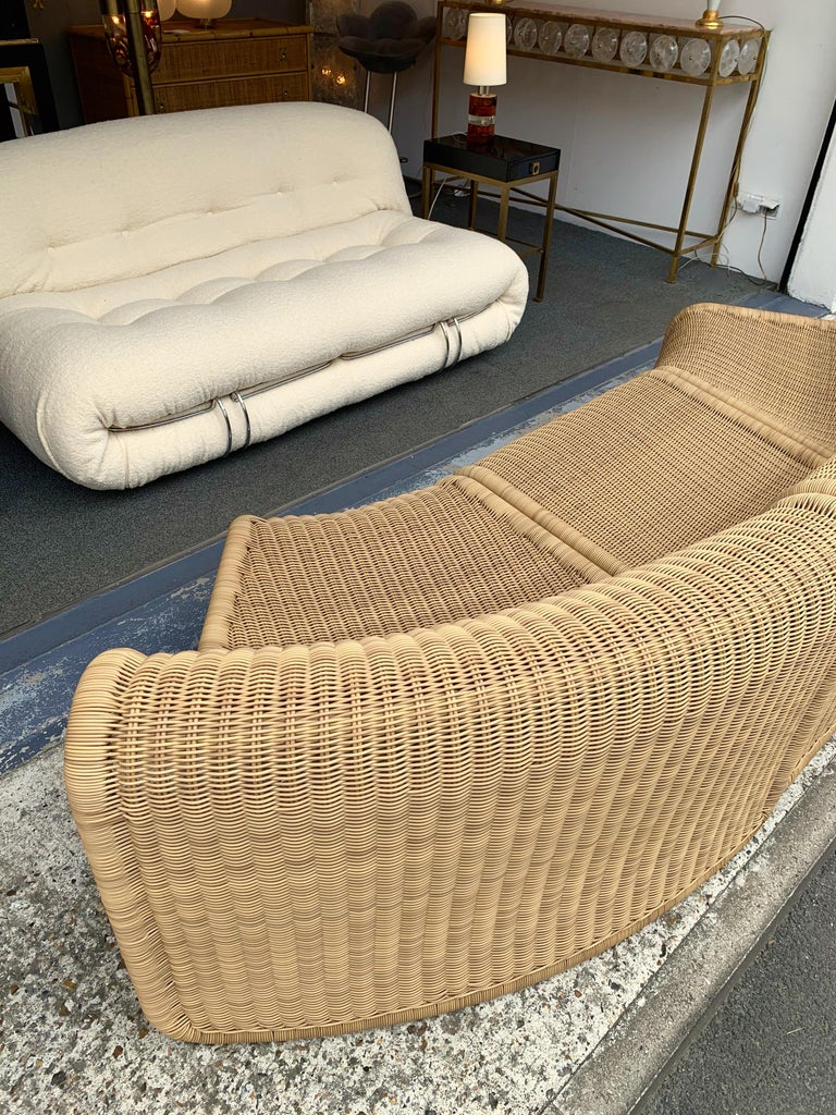 Rattan Modular Sofa Armchairs T3 by Tito Agnoli, Italy, 1970s In Good Condition For Sale In SAINT-OUEN, FR