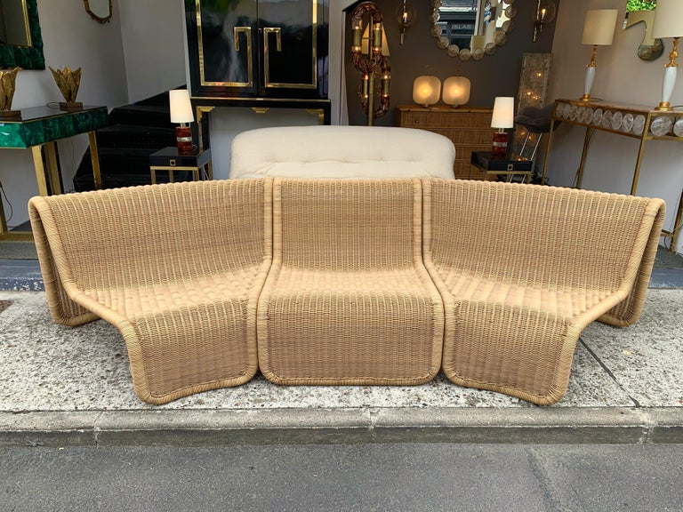 Late 20th Century Rattan Modular Sofa Armchairs T3 by Tito Agnoli, Italy, 1970s For Sale