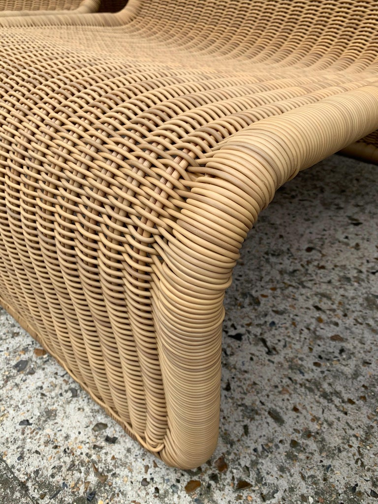 Synthetic Rattan Modular Sofa Armchairs T3 by Tito Agnoli, Italy, 1970s For Sale