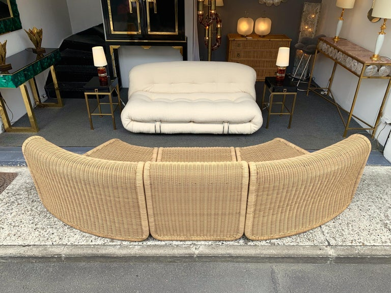 Rattan Modular Sofa Armchairs T3 by Tito Agnoli, Italy, 1970s For Sale 1