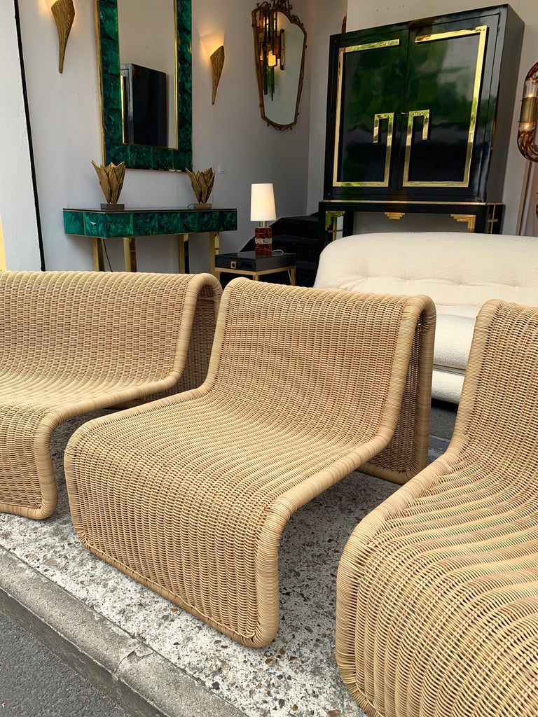 Rattan Modular Sofa Armchairs T3 by Tito Agnoli, Italy, 1970s For Sale 2