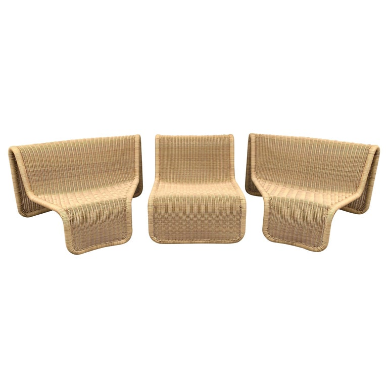 Rattan Modular Sofa Armchairs T3 by Tito Agnoli, Italy, 1970s For Sale