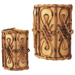 Rattan Oriental Inspired French Modernist Wall Sconces, Pair