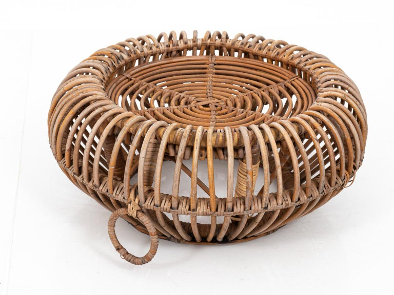 Mid-Century Modern Rattan Ottoman in the Manner of Franco Albini For Sale