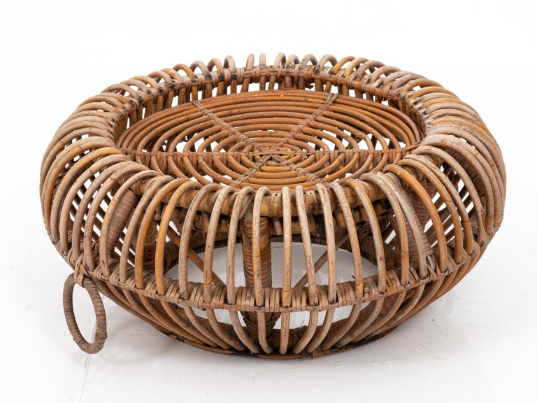 Rattan Ottoman in the Manner of Franco Albini In Fair Condition For Sale In Stamford, CT