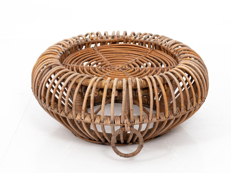 Rattan Ottoman in the Manner of Franco Albini For Sale 1
